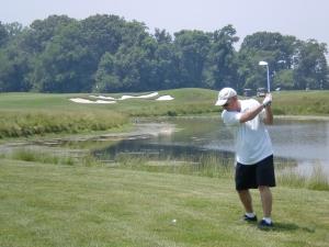 Lefty Golf Shot at Queenstown
