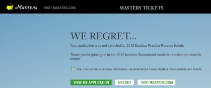 2012 Masters Tickets